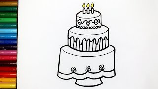 Glitter Rainbow Birthday Cake Coloring and Drawing for Kids, Toddlers | Maru Toy Art