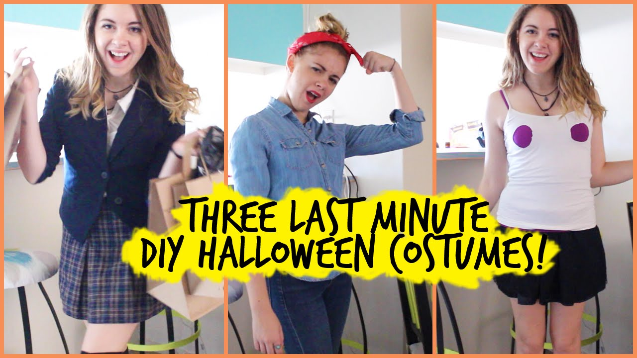 3 diy last minute halloween costumes regina george clueless rosie the riveter youtube - Rosie The Riveter Halloween Costume