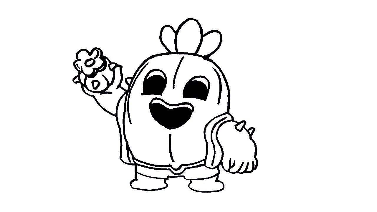 Как Нарисовать Спайка Кактус с Бравл Старс