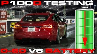 Tesla P100D Ludicrous Testing 0-60 MPH vs Battery State of Charge 10% to 100%