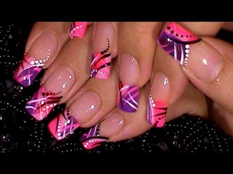 Trendy Pink Purple Nail Art Design Tutorial Youtube