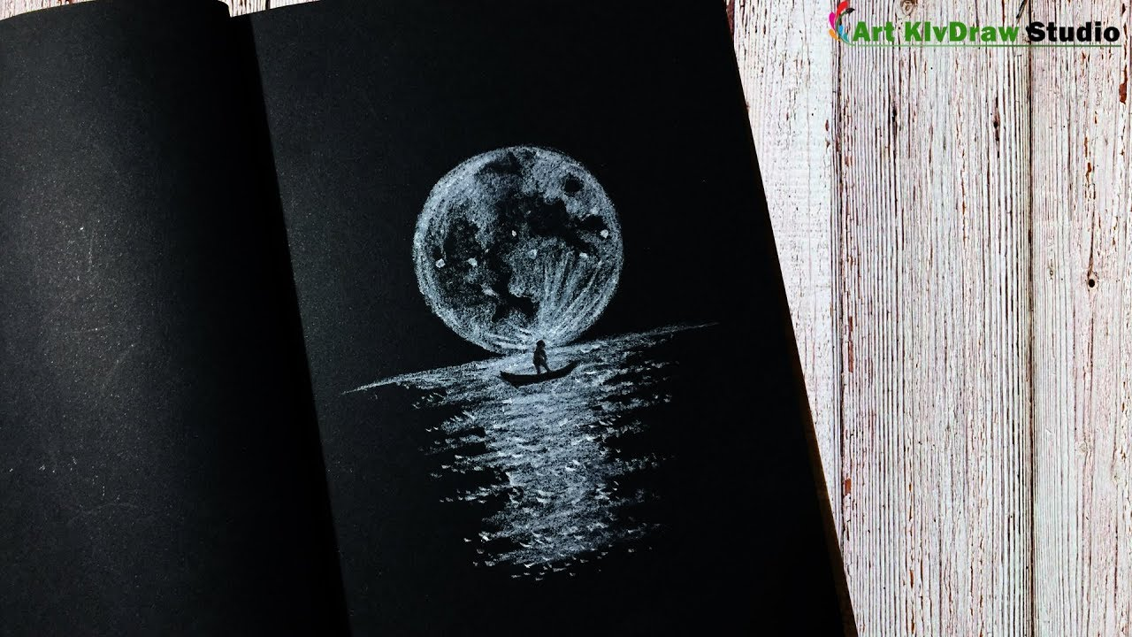 Drawing moonlight with white pencil on black paper step by step