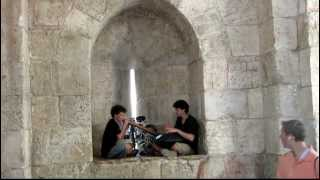 Young boys make music in the Jaffa Gate Jerusalem Israel