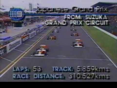Suzuka GP 1989 start - Alain Prost takes the lead