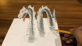 How to Drawing 3D Loch Ness Monster Dragon  on the Paper
