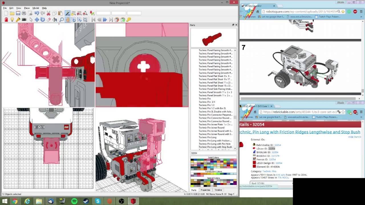 EV3 robot modeling with LeoCAD