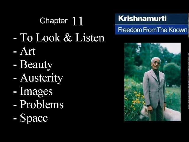 Jiddu Krishnamurti - Freedom From the Known (audio☉book) Chapter 11 - To Look and to Listen - Art -
