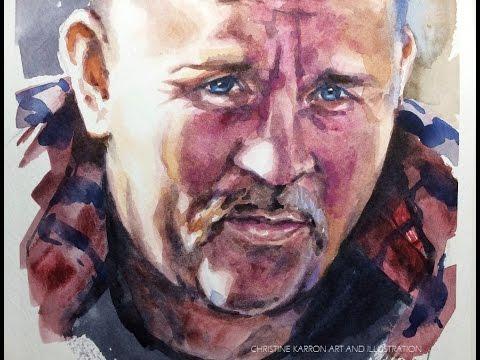 Watercolor portrait sketch painting demo by Ch.Karron