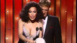 Diahann carroll and robert stack present the best performance by an actor in a supporting role - motion picture award to klaus maria brandauer for his perfor...