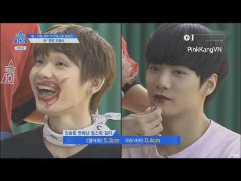 [produce 101 ss2] Trainees play game with lipstick