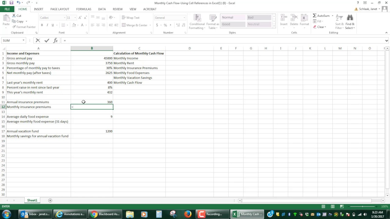 step by step video of monthly cash flow spreadsheet for mat 105