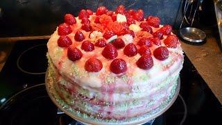 #Торт клубничный с пломбирным кремом #Cake strawberry with cream plombirnym