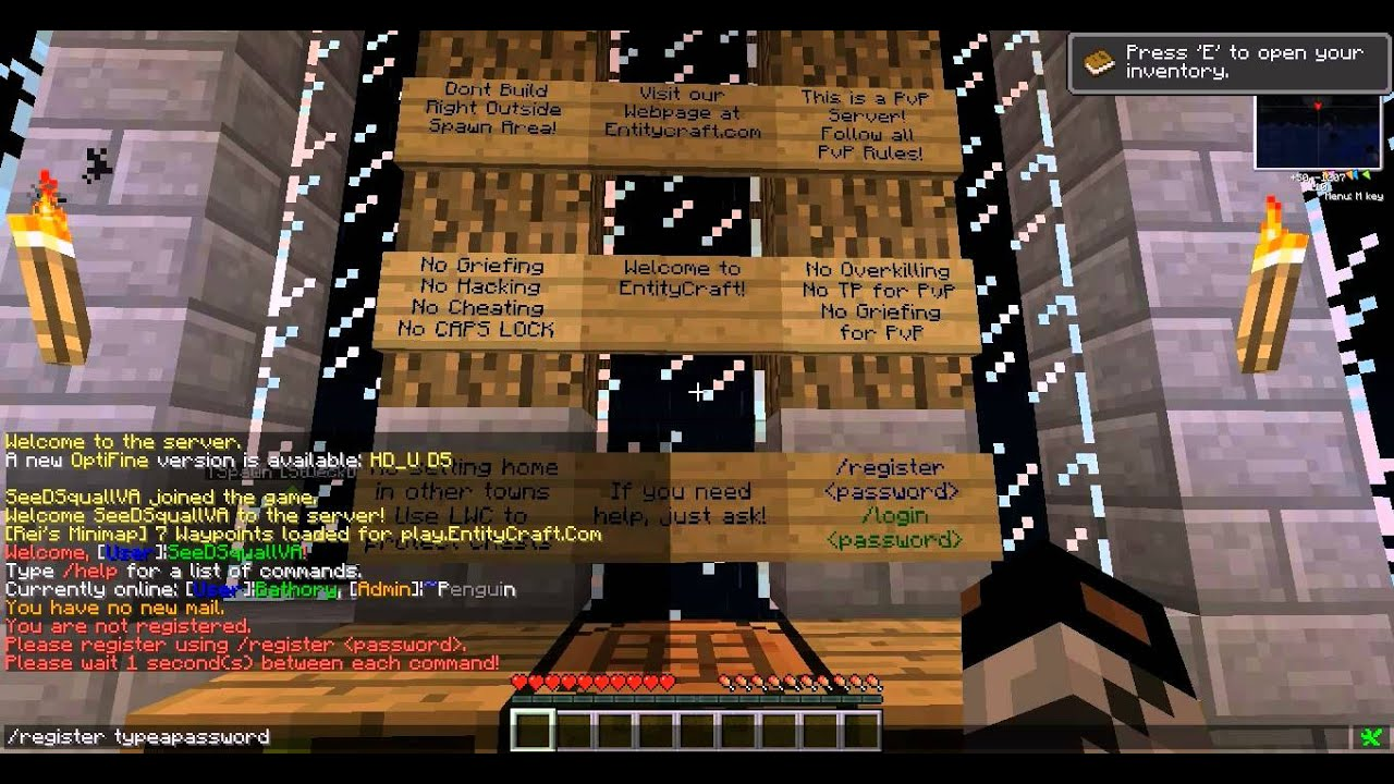 How to register and login to a MineCraft server [xAuth servers]