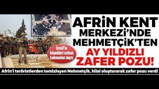 Afrin de Türk bayrağı çeken Mehmetçik ten zafer pozu Afrin zaferi kutlu olsun