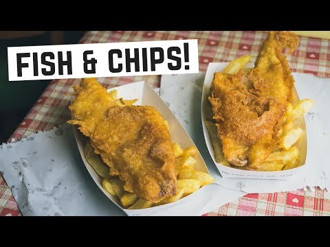 English Food - Real FISH AND CHIPS! (Americans Try British Food) - Cornwall, England