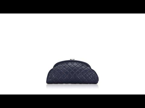 Chanel Caviar Timeless Clutch Navy