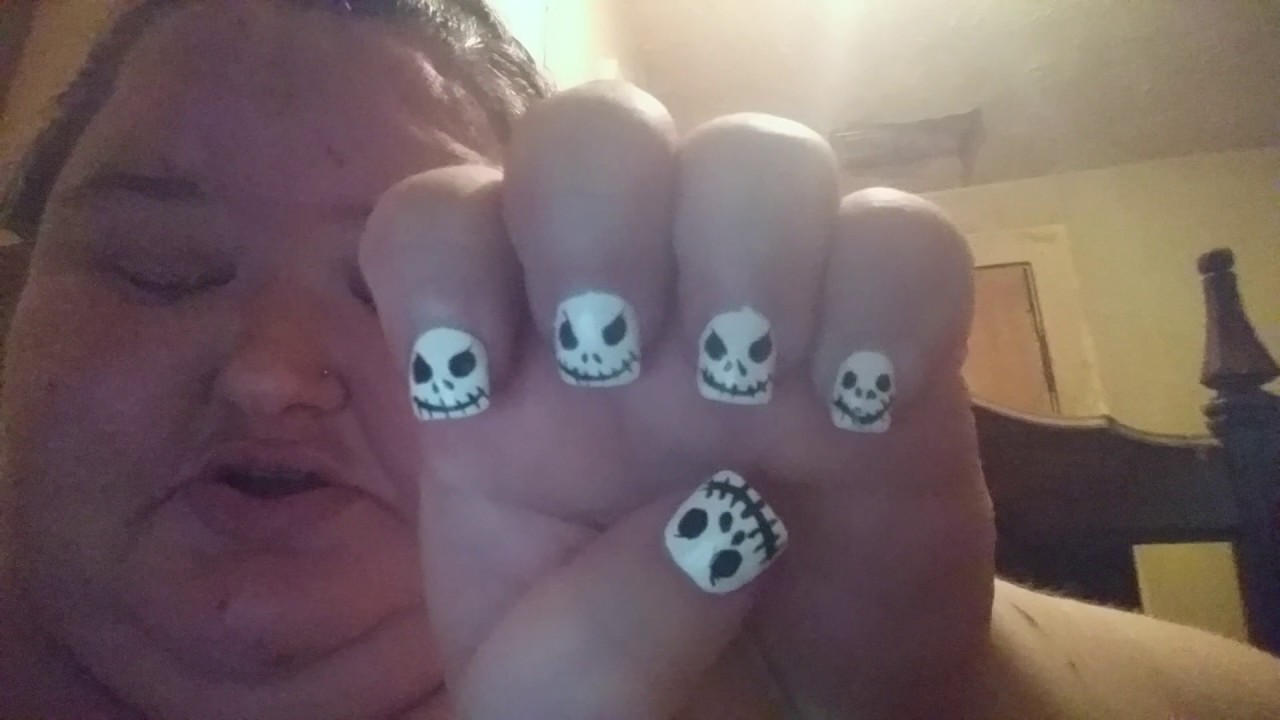 Jack from nightmare before christmas themed nails 2017 - YouTube