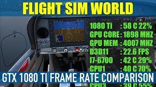 Flight Sim World GTX 1080Ti Frame Rate Comparison Min To Ultra