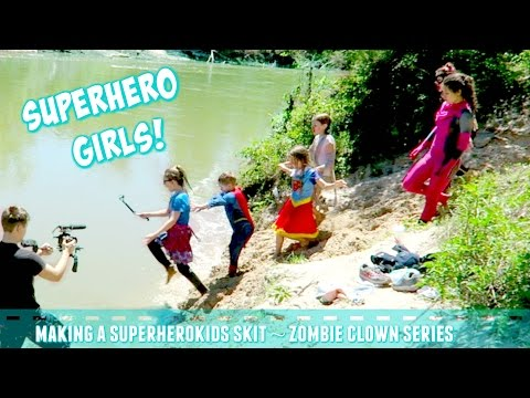 Superhero Girls Making Zombie Killer Clowns Superhero Kids skit Behind the Scenes