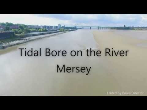 DJI Phantom view of the River Bore coming into the Mersey Estuary