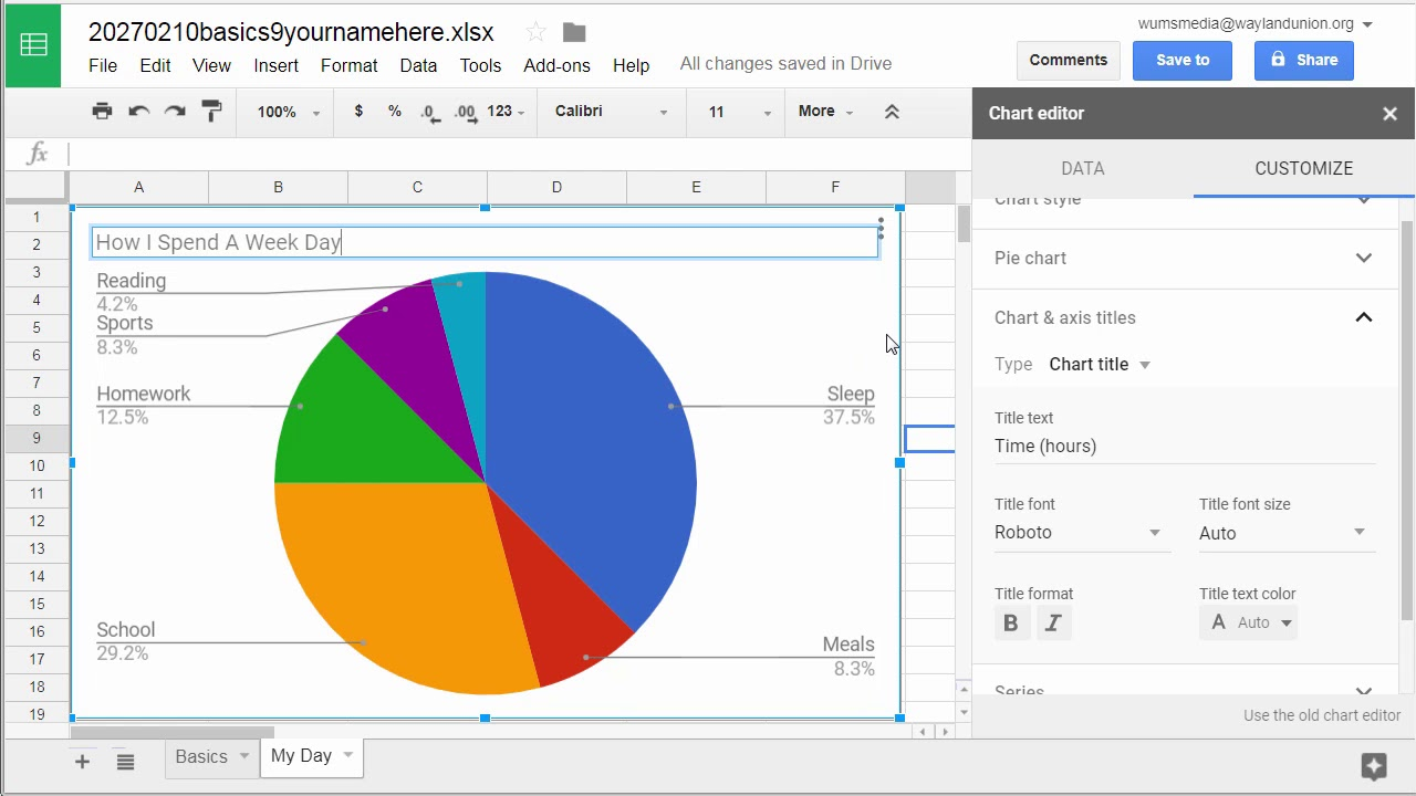 how to make a circle chart by using google sheets spreadsheet [ 1280 x 720 Pixel ]
