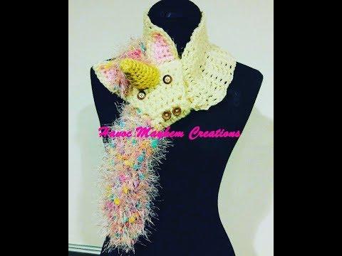 Tutorial Learn How to Crochet Unicorn Scarf By, Sabrina Sun