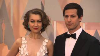 oscars andy sanberg joanna newsom and the lonely island red carpet fashion 2015