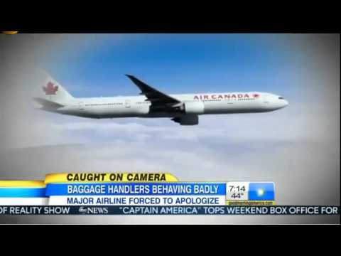 Air Canada Baggage Handlers VIDEO Lugagge Toss FAIL Caught On Video