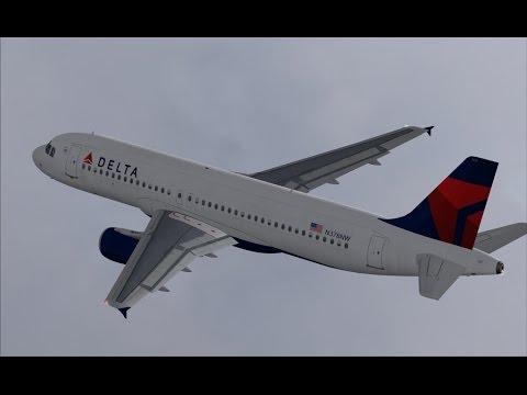 FSX HD Project Airbus 320 DELTA 1100 Atlanta to Boston Full Flight Passenger Wing View