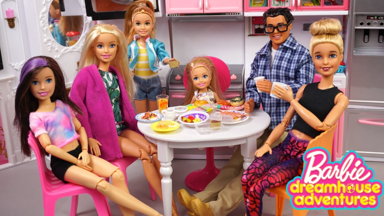 Barbie Family Morning Routine Dreamhouse Adventures  - Titi Toys & Dolls
