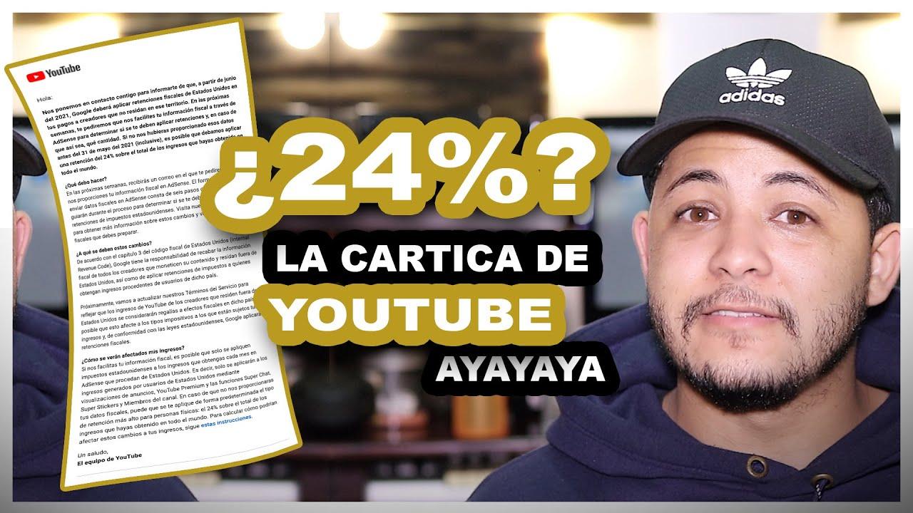 Cuidado! O google va a deducir un 24% de los ingresos de tu canal de Youtube.