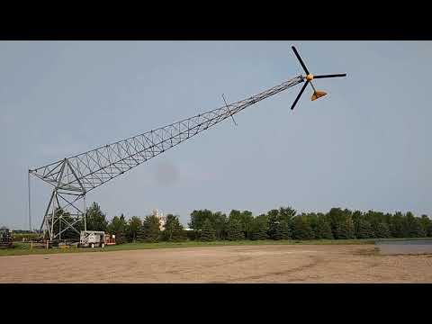 Folding tower over to do maintenance on wind turbine part 2