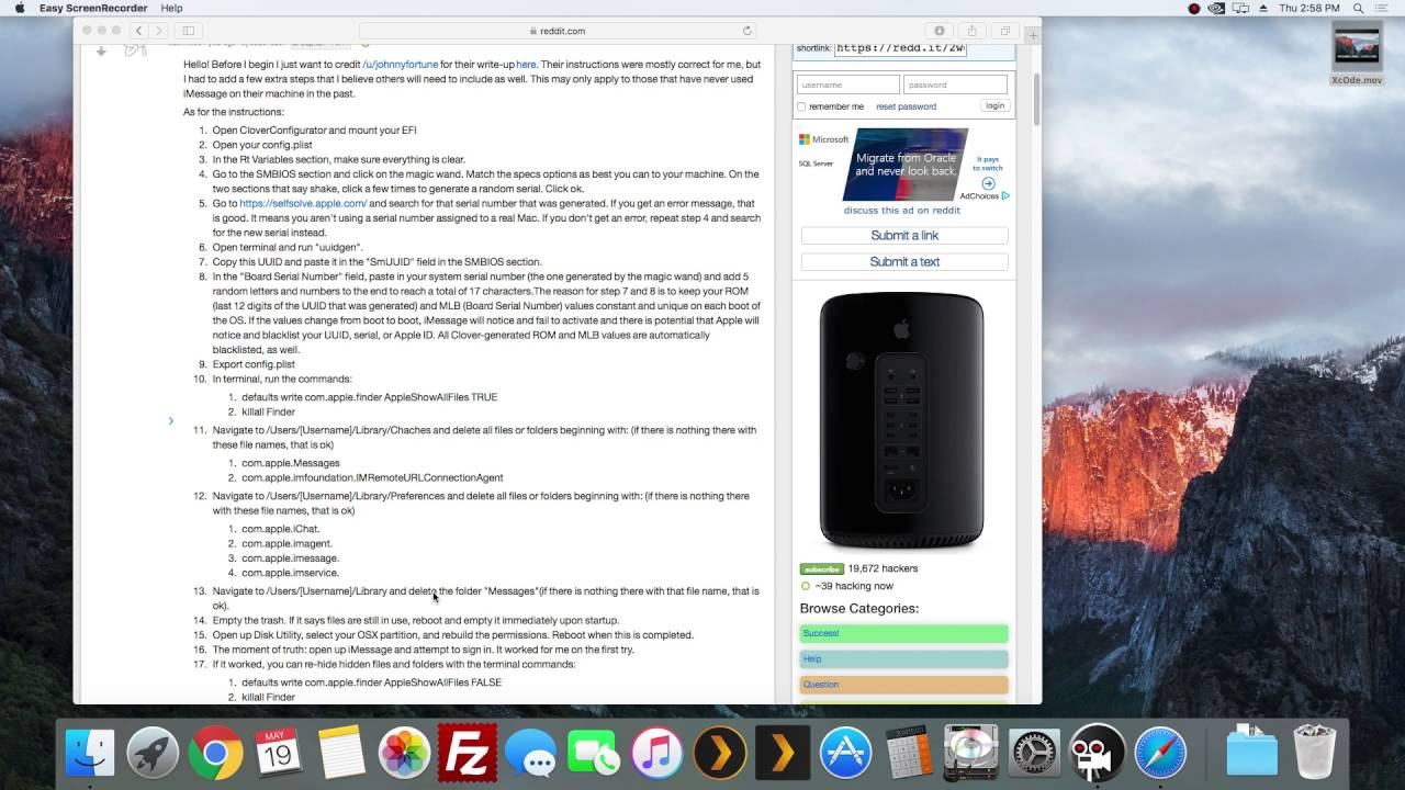 Skylake Hackintosh Intel i7 6700K El Capitan FaceTime / iMessage Fix