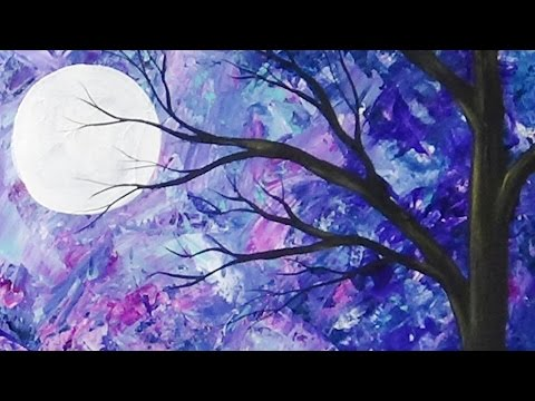Abstract moonlit tree palette knife painting with acrylics for Background painting ideas
