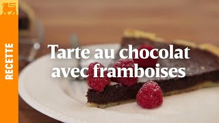 La tarte au chocolat et ses framboises