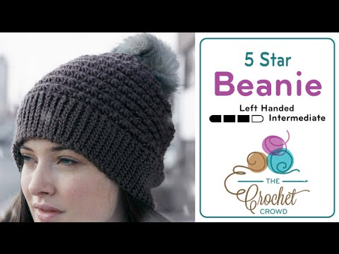 b93914c63 How to Crochet A Hat  5 Star Beanie Left Handed - YouTube