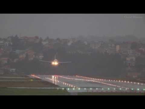 Aterrizaje y despegue de un A319 de Iberia en Alvedro (LECO)