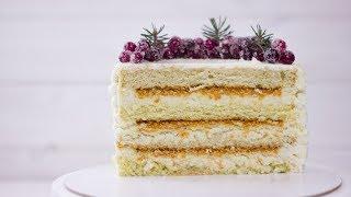Торт Баунти Рецепт торта с кокосовой стружкой нежный бисквит Как собрать вкусный торт