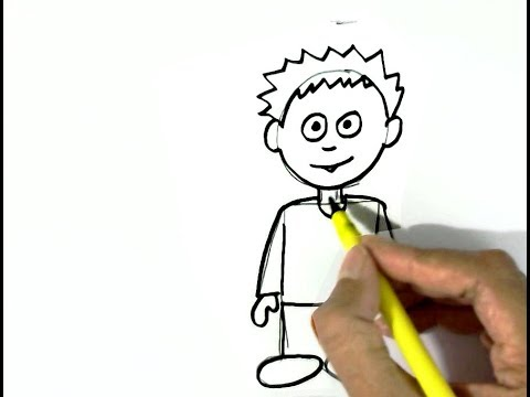 How to draw a cartoon boy easy steps for children kids beginners