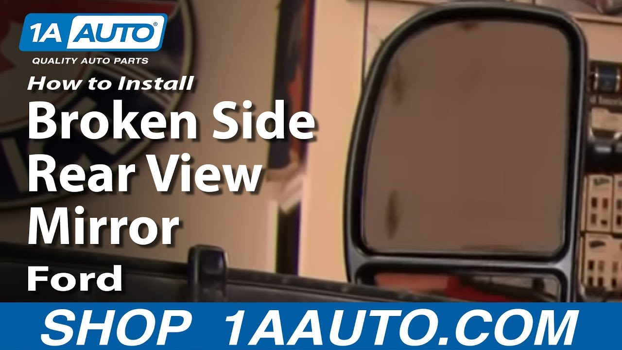 How to install replace broken side rear view mirror 99 07 ford f250 super duty 1aauto com youtube