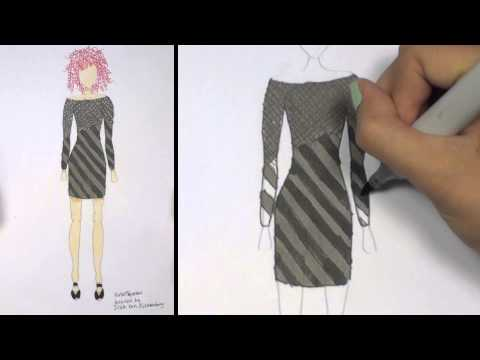 How to Draw Clothes for Beginners Fashion Designing: Black and Grey Mini-Dress   KT
