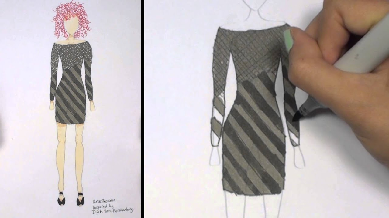 How To Draw Clothes For Beginners Fashion Designing Black And Grey Mini Dress Kt Youtube