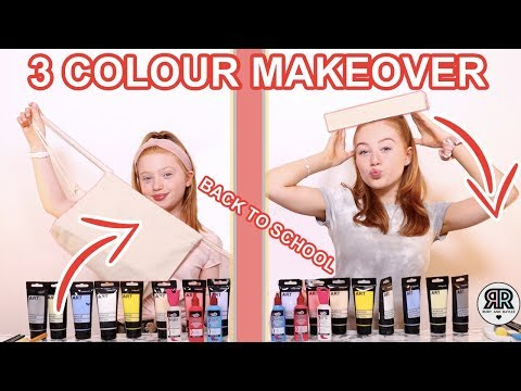 Twin Telepathy 3 Color Paint & Marker Back To School Makeover Challenge *Sis vs Sis    Ruby & Raylee