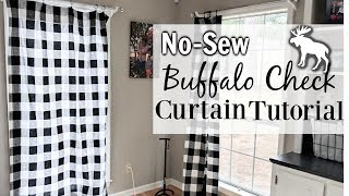 HOW TO MAKE NO-SEW INEXPENSIVE BUFFALO PLAID CURTAINS || MAKE YOUR OWN FALL CURTAINS