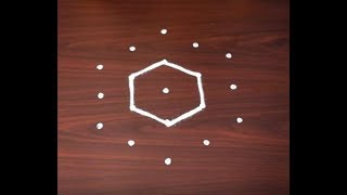 Very Easy Kolam Design with 5X3 Dots | Easy Muggulu Designs | Easy Kolam Designs | Simple Rangoli