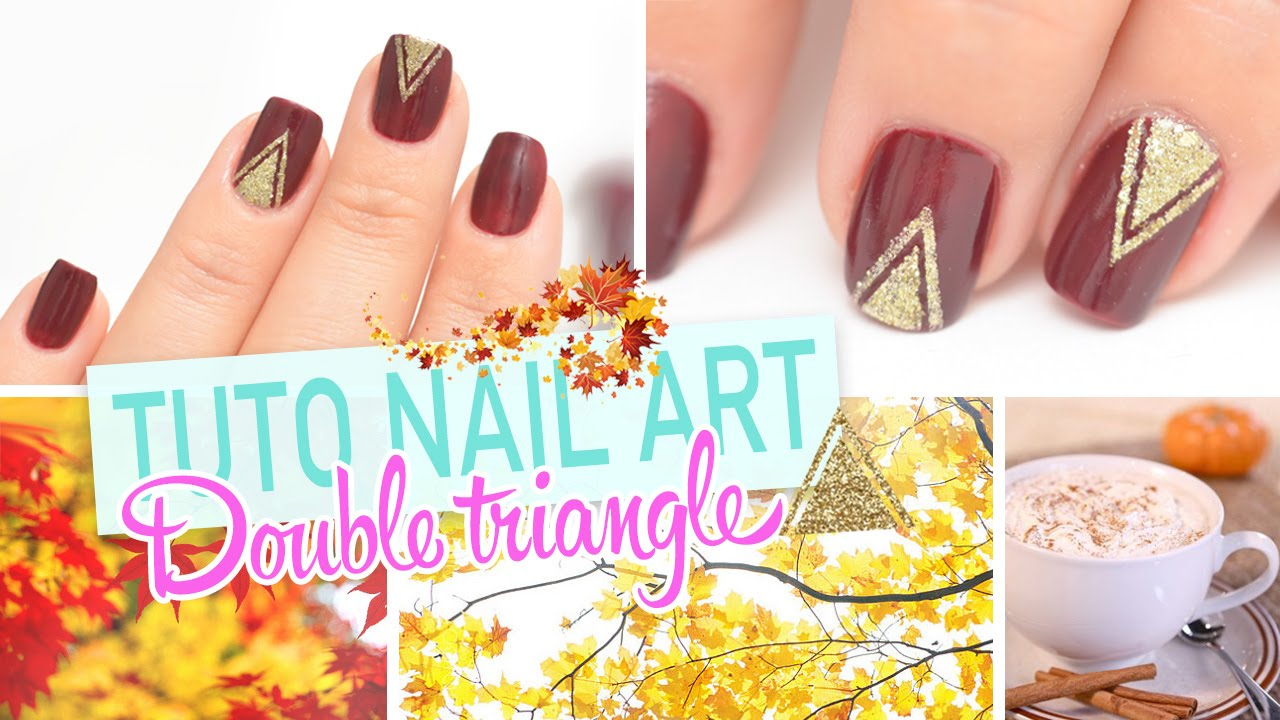 Nail art facile - Double triangle d\'automne ♡ - YouTube