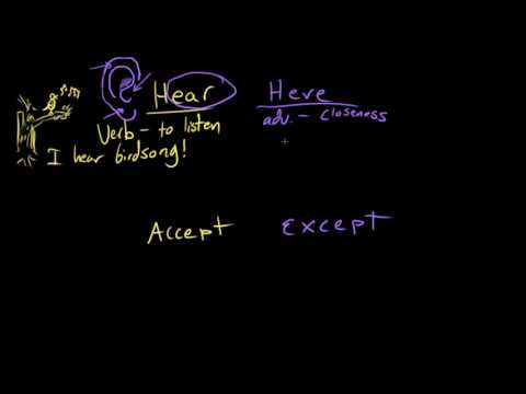 Hear/here and accept/except | Frequently confused words | Usage | Grammar