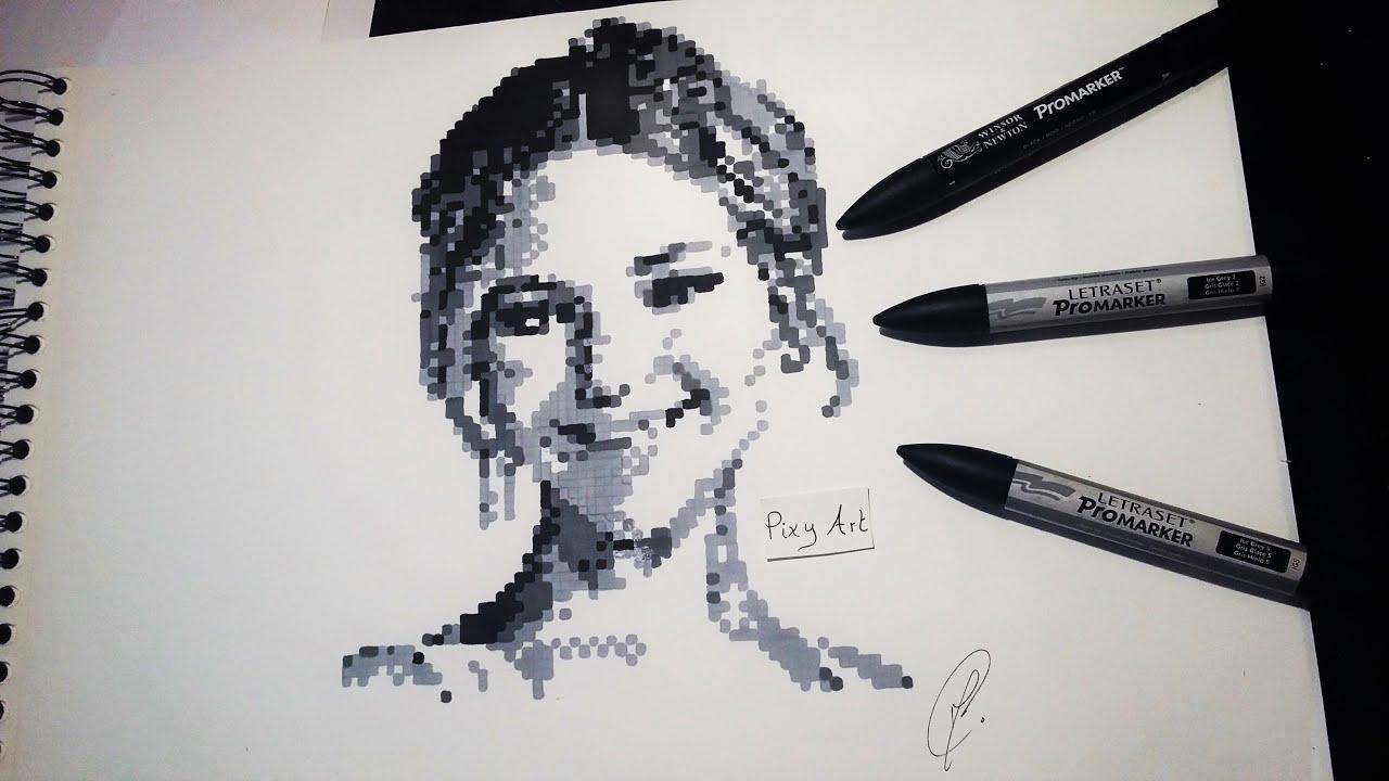Jennifer Lawrence Portrait Pixel Drawing Time Lapse