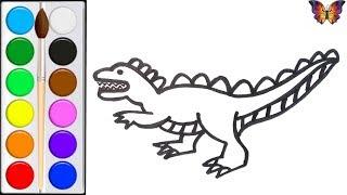 Как нарисовать ДИНОЗАВРА /  мультик раскраска ДИНОЗАВР  для детей / Раскраски малышам