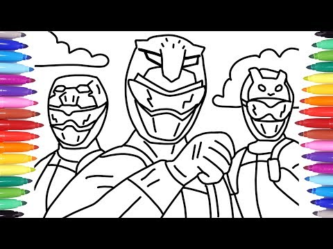 POWER RANGERS BEAST MORPHERS // POWER RANGERS COLORING PAGES / RED RANGER BLUE RANGER YELLOW RANGER